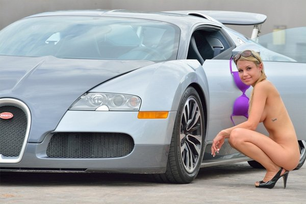 nude girl with bugatti